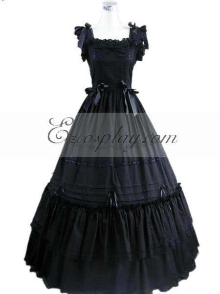 Victorian Costumes: Dresses, Saloon Girls, Southern Belle, Witch Black Sleeveless Gothic Lolita Dress-LTFS0106 $117.99 AT vintagedancer.com