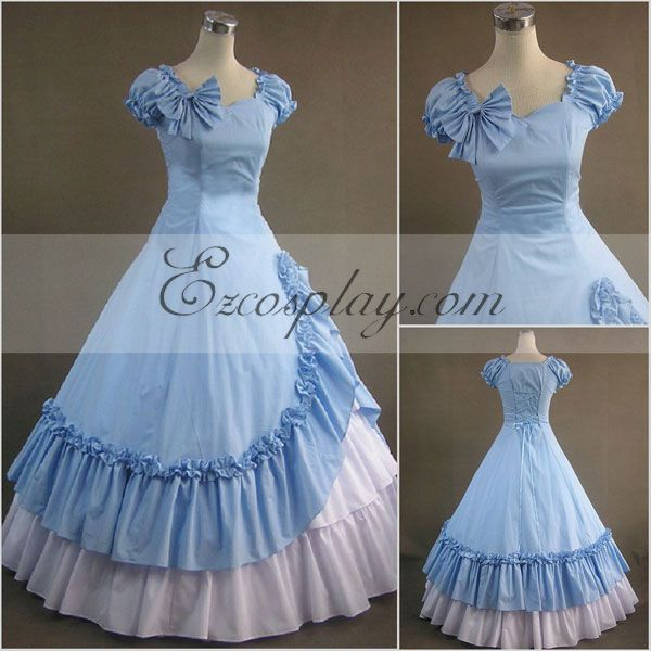 Victorian Costumes: Dresses, Saloon Girls, Southern Belle, Witch Blue Sleeveless Gothic Lolita Dress-LTFS0108 $117.99 AT vintagedancer.com