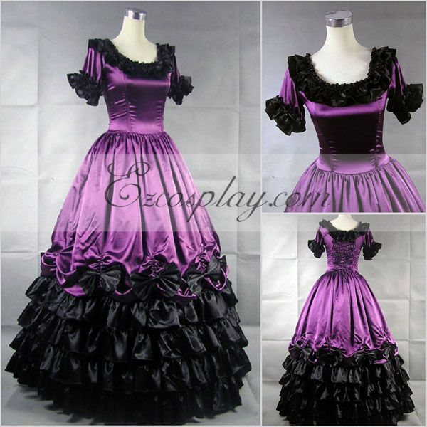 Victorian Costumes: Dresses, Saloon Girls, Southern Belle, Witch Roseo Short Sleeve Gothic Lolita Dress-LTFS0109 $117.99 AT vintagedancer.com