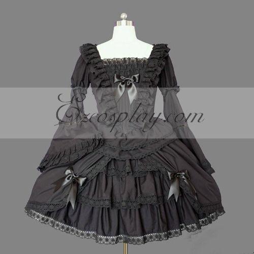 Image of Black Gothic Lolita Dress LTFS0110