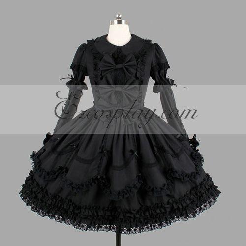 Image of Black Gothic Lolita Dress LTFS0112