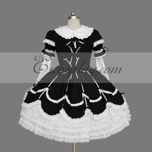 Image of BlackWhite Gothic Lolita Dress LTFS0113