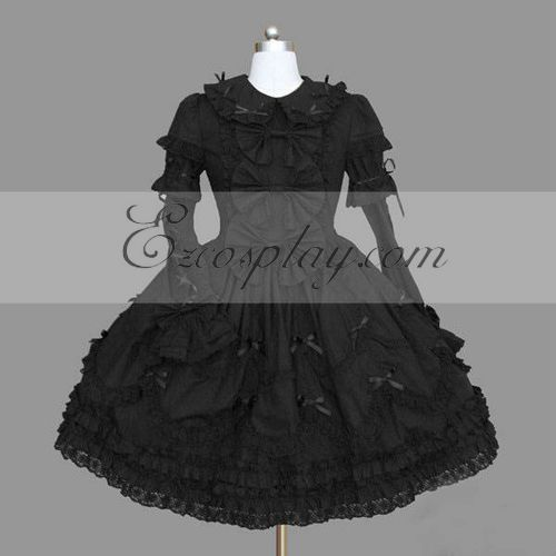 Image of Black Gothic Lolita Dress LTFS0114