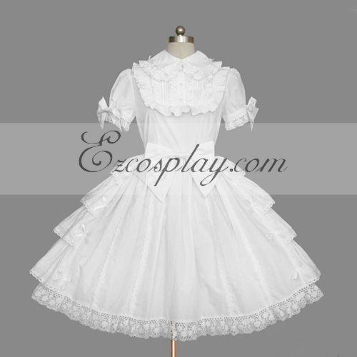 Image of White Gothic Lolita Dress LTFS0115