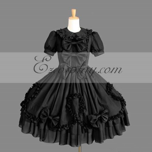 Image of Black Gothic Lolita Dress LTFS0116