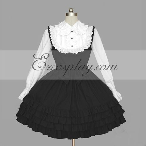 Image of BlackWhite Gothic Lolita Dress LTFS0117