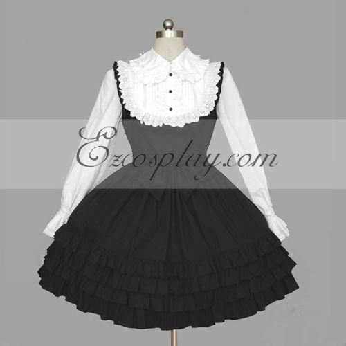 Black-White Gothic Lolita Dress -LTFS0117