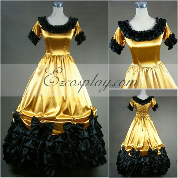 Victorian Costumes: Dresses, Saloon Girls, Southern Belle, Witch Yellow Short Sleeve Gothic Lolita Dress-LTFS0011 $117.99 AT vintagedancer.com