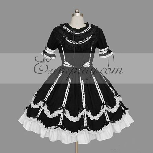 Image of BlackWhite Gothic Lolita Dress LTFS0121