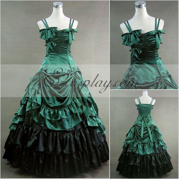 Green Sleeveless Gothic Lolita Dress-LTFS0012