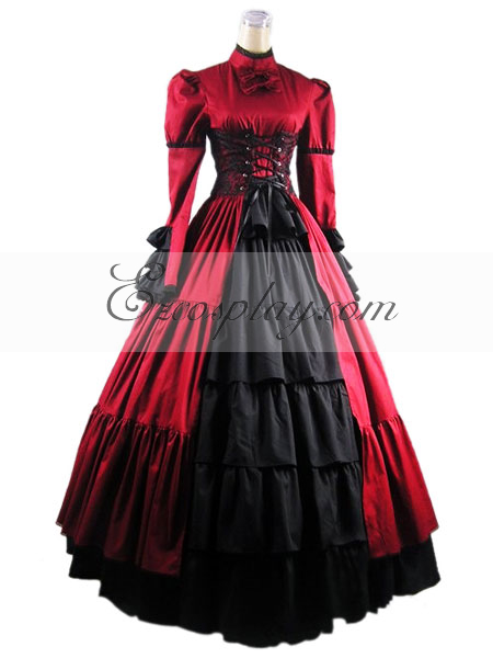 Red Long Sleeve Gothic Wedding Dress-LTFS0017