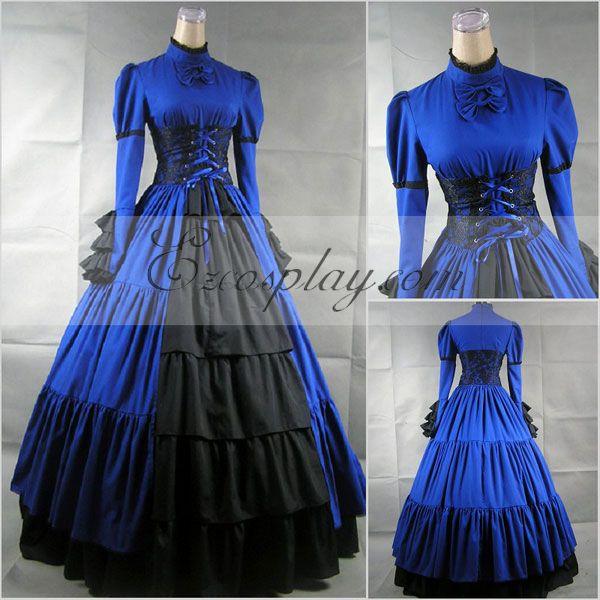 Blue Long Sleeve Gothic Lolita Dress-LTFS0019