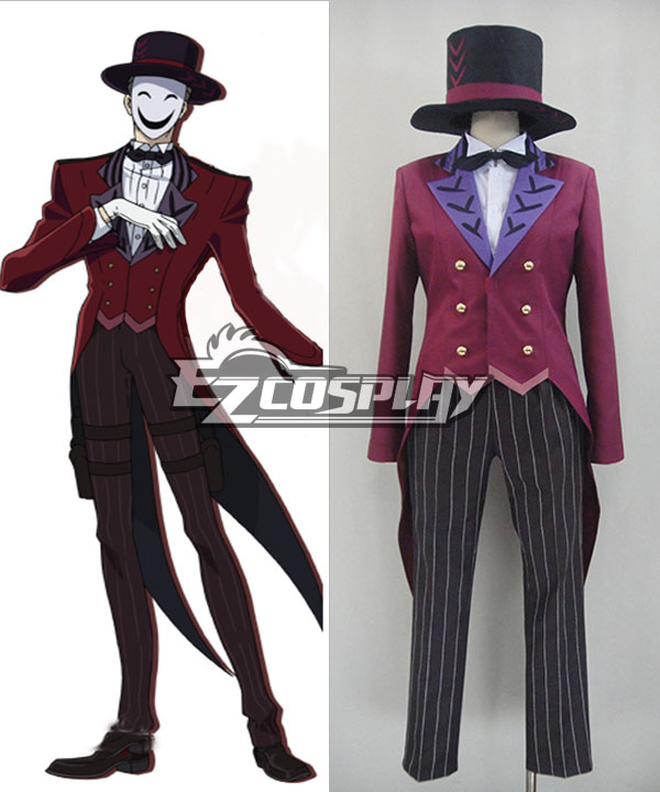 Men's Steampunk Clothing, Costumes, Fashion Black Bullet Kagetane Hiruko antagonist Promoter  Initiator White Smile Mask Man Cosplay Costume - Only the Red Tail Coat $129.99 AT vintagedancer.com