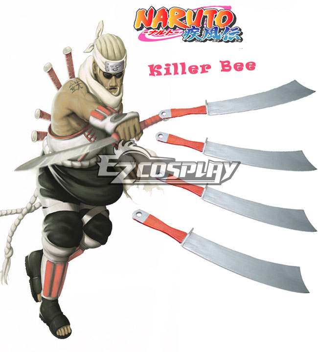 Naruto Killer Bee Short Knife 4 Cosplay Wooden Weapons