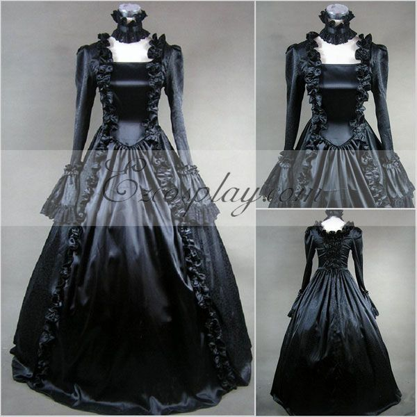 Black Long Sleeve Gothic Lolita Dress-LTFS0020