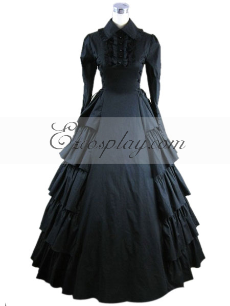 Black Long Sleeve Gothic Lolita Dress-LTFS0022
