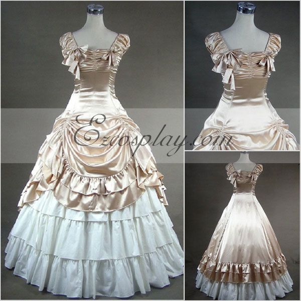 Vintage Inspired Wedding Dress | Vintage Style Wedding Dresses Apricot Sleeveless Gothic Lolita Dress Cosplay Costume $117.99 AT vintagedancer.com