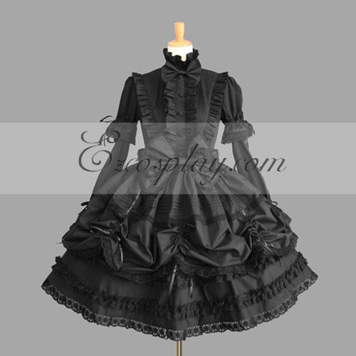 Image of Black Gothic Lolita Dress LTFS0025