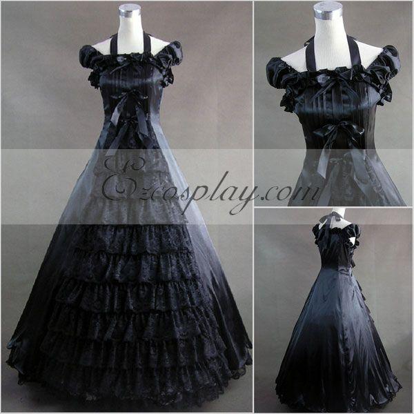Steampunk Dresses | Women & Girl Costumes Black Sleeveless Gothic Lolita Dress-LTFS0027 $117.99 AT vintagedancer.com