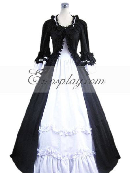 Black- White Long Sleeve Gothic Lolita Dress-LTFS0029