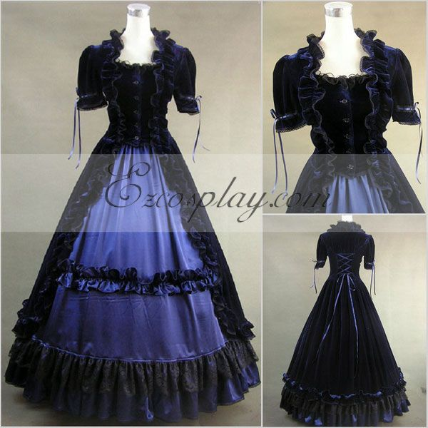 Victorian Costumes: Dresses, Saloon Girls, Southern Belle, Witch Blue-Black Short Sleeve Gothic Lolita Dress-LTFS0030 $117.99 AT vintagedancer.com