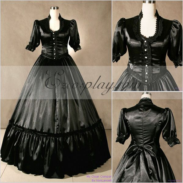 Victorian Costumes: Dresses, Saloon Girls, Southern Belle, Witch Blackish Short Sleeve Gothic Lolita Dress-LTFS0039 $117.99 AT vintagedancer.com