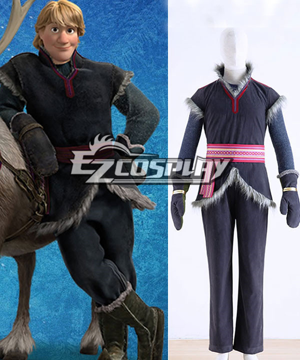 Disney Frozen Kristoff Cosplay Movie Costume Grey Outfit Full Set None