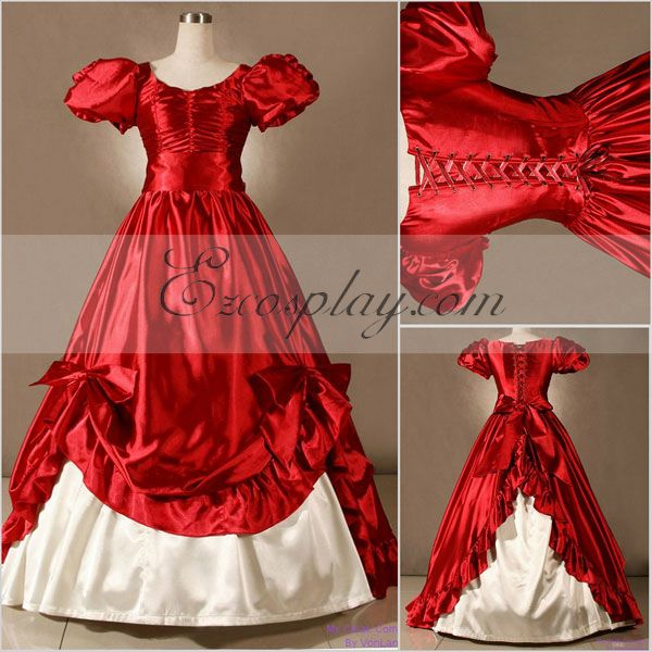 Victorian Costumes: Dresses, Saloon Girls, Southern Belle, Witch Red Short Sleeve Gothic Lolita Dress-LTFS0055 $117.99 AT vintagedancer.com