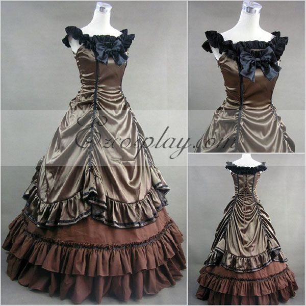 Steampunk Dresses | Women & Girl Costumes Sepia Sleeveless Gothic Lolita Dress-LTFS0005 $117.99 AT vintagedancer.com