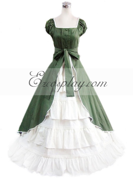 Victorian Costumes: Dresses, Saloon Girls, Southern Belle, Witch Green Sleeveless Gothic Lolita Dress-LTFS0065 $117.99 AT vintagedancer.com