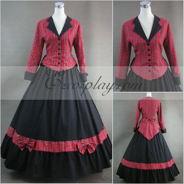 Victorian Costumes: Dresses, Saloon Girls, Southern Belle, Witch Red lattice Long Sleeve Gothic Lolita Dress-LTFS0066 $117.99 AT vintagedancer.com