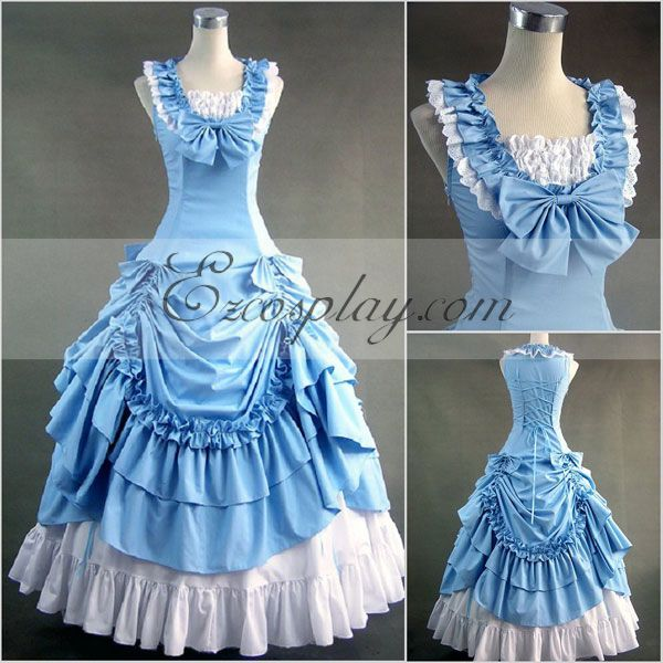 Victorian Costumes: Dresses, Saloon Girls, Southern Belle, Witch Blue Sleeveless Gothic Lolita Dress-LTFS0068 $117.99 AT vintagedancer.com