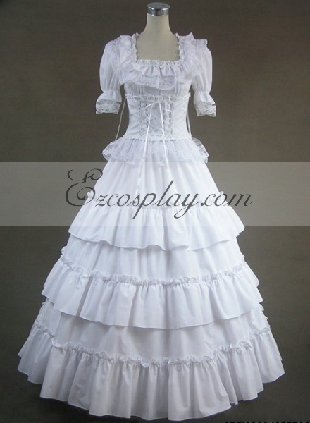Vintage Inspired Wedding Dress | Vintage Style Wedding Dresses White Short Sleeve Gothic Lolita Dress-LTFS0006 $117.99 AT vintagedancer.com