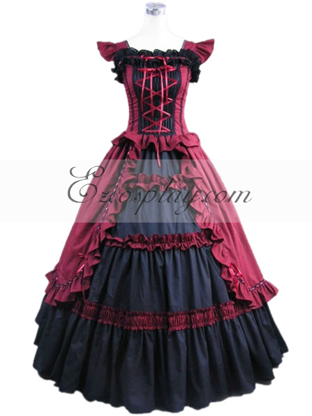 Red Sleeveless Gothic Wedding Dress-LTFS0007