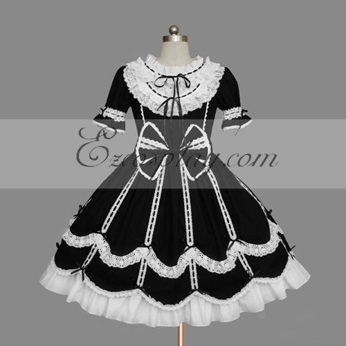 Image of BlackWhite Gothic Lolita Dress LTFS0084