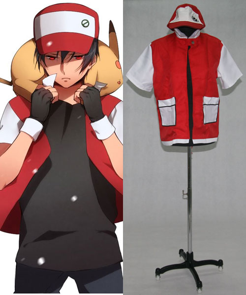 Pokemon Pocket Monster Ash Ketchum Red Jacket Cosplay Costume