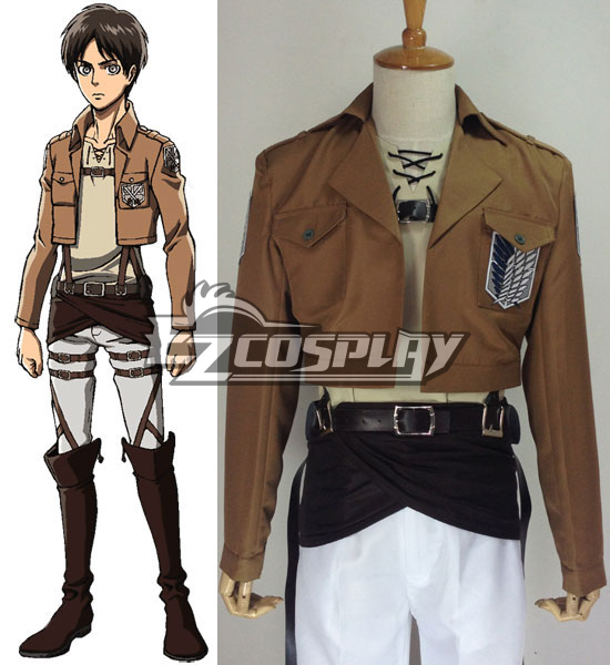 Image of Attack on Titan Eren Jaeger Survey Crops Cosplay Costume(Only Shirt)