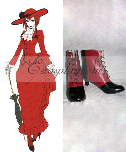 Black Butler Angelina Dulles Red Black Cosplay Shoes