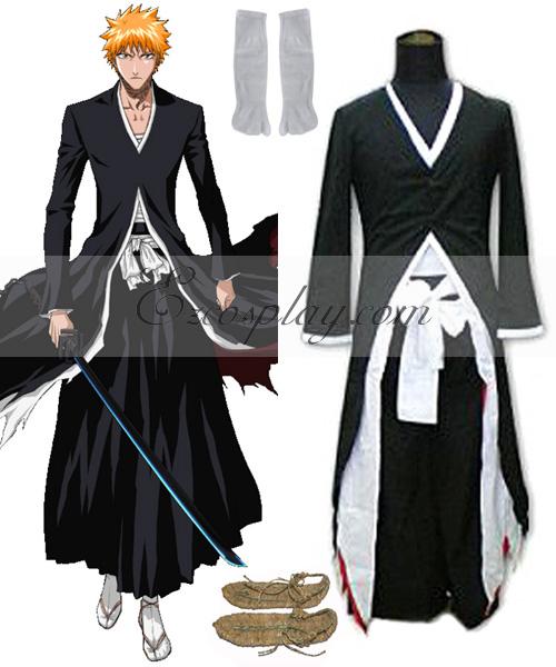 Anime Bleach Ichigo Kurosaki Bankai Uniform Cloak Coat Halloween Cosplay Costume