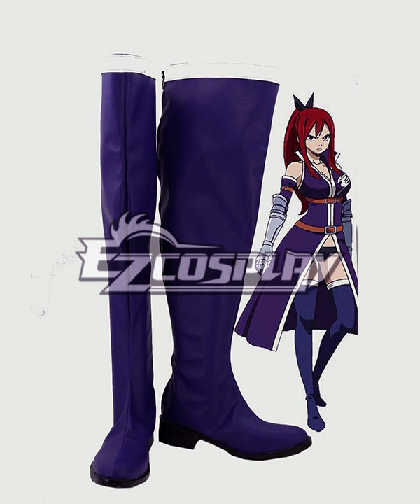 Fairy Tail Erza Scarlet Ilusa Purple Shoes Cosplay Boots COSS0278