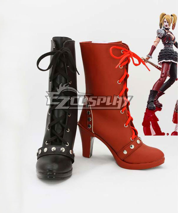DC Comics Batman: Arkham Knight Asylum City Harley Quinn Black And Red Shoes Cosplay Boots None
