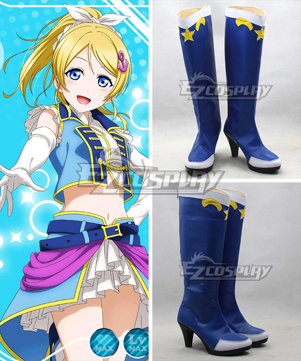 Love Live School Idol Project Field Of View Ayase Eli Blue Shoes Cosplay Boots None