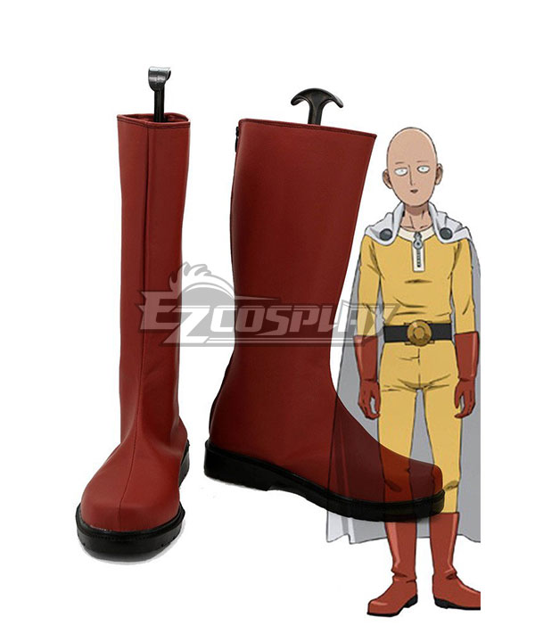 One Punch Man Saitama Caped Baldy Hagemanto Red Shoes Cosplay Boots None