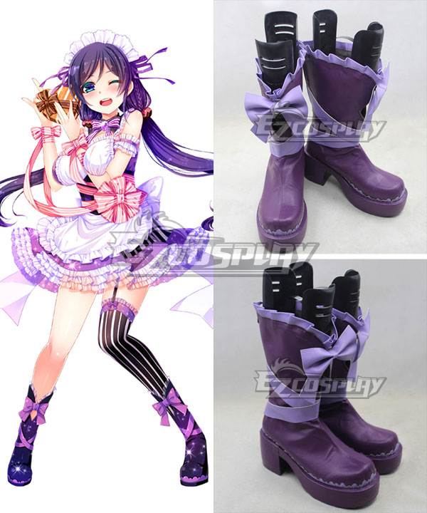 Love Live Valentine's Day Maid Nozomi Tojo Purple Cosplay Boots COSS0470