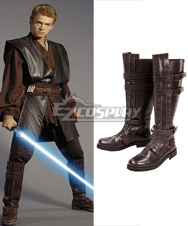 Star Wars Anakin Skywalker Jedi Brown Cosplay Boots None