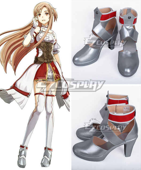 Sword Art Online Hollow Realization SAO Yuuki Asuna Yuki Asuna Game Silver Cosplay Shoes None