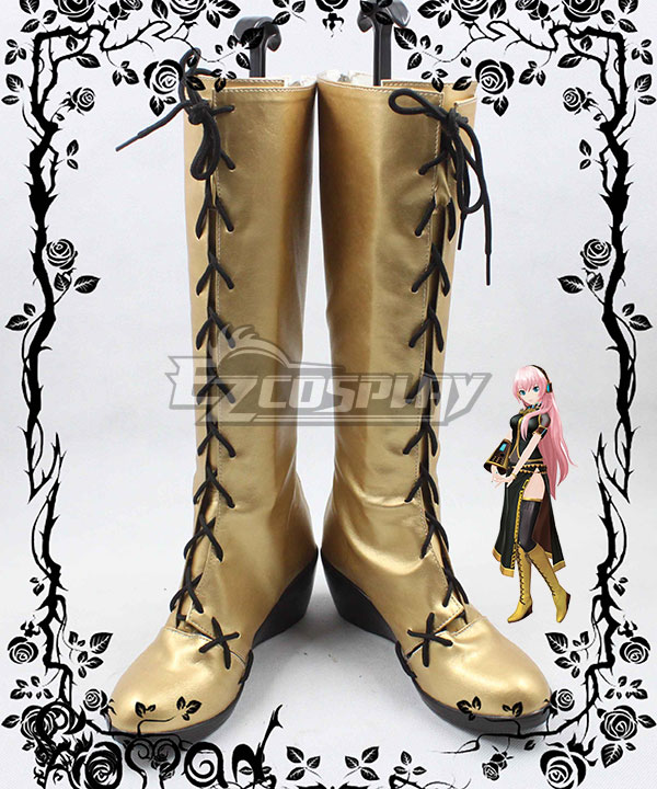 Anime Costumes COSS0558 Vocaloid Megurine Luka Golden Shoes Cosplay Boots