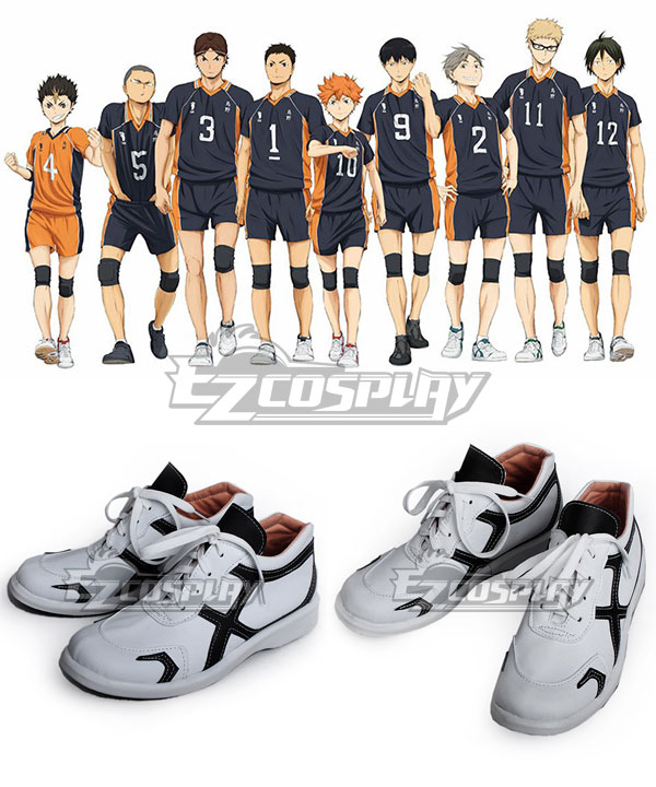 Haikyu! Karasuno High School's Volleyball Club White Cosplay Shoes COSS0592