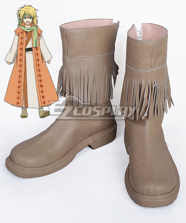 Akatsuki no Yona Yona of the Dawn Zeno Yellow Dragon Warrior Brown Shoes Cosplay Boot None