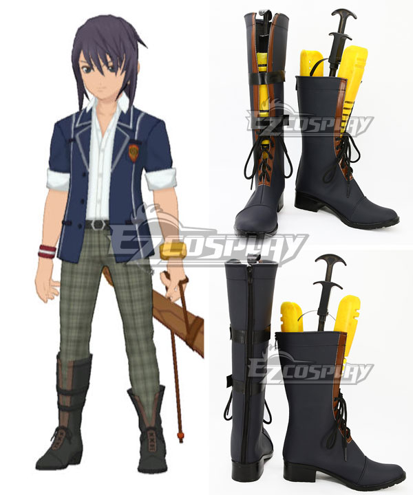 Tales of Vesperia TOV Yuri Lowell School Uniforms Dark blue Shoes Cosplay Boots COSS0676